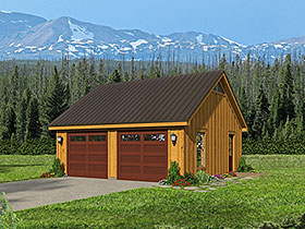 Cape Cod , Country , Ranch , Saltbox , Traditional 2 Car Garage Plan 40831 Elevation