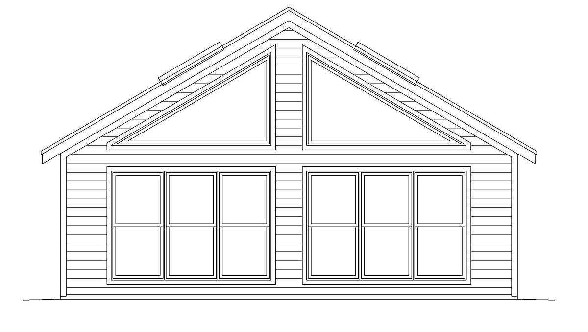 Country, Ranch, Saltbox, Traditional Workshop Plan 40833 Rear Elevation