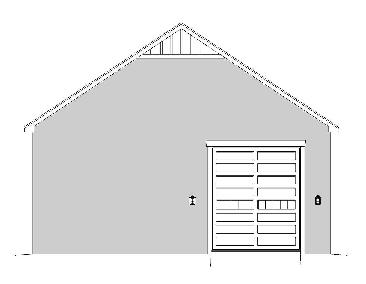 Country, European, French Country, Traditional 2 Car Garage Plan 40834, RV Storage Rear Elevation