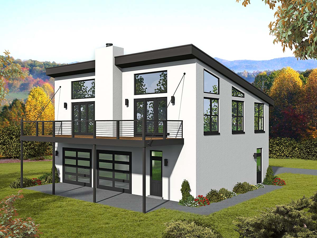 Coastal, Contemporary, Modern, Traditional House Plan 40835 with 1 Beds , 2 Baths , 3 Car Garage Elevation