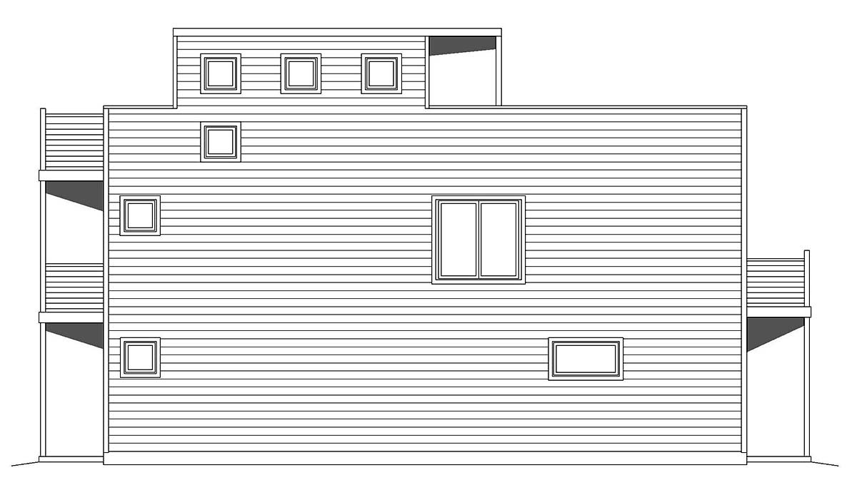 Contemporary, Modern, Narrow Lot House Plan 40839 with 2 Beds, 1 Baths, 2 Car Garage Picture 1
