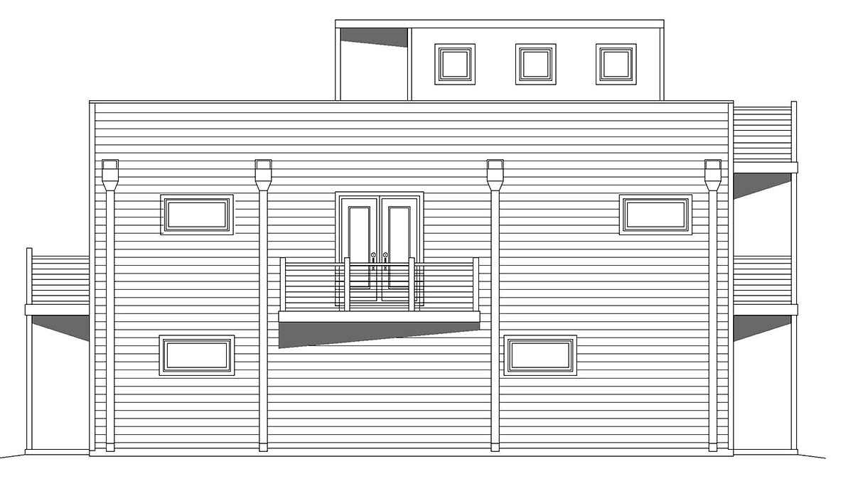 Contemporary, Modern, Narrow Lot House Plan 40839 with 2 Beds, 1 Baths, 2 Car Garage Picture 2