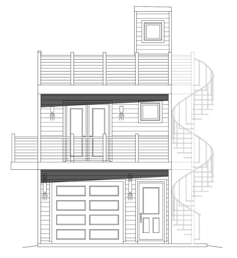 Contemporary, Modern, Narrow Lot House Plan 40839 with 2 Beds, 1 Baths, 2 Car Garage Picture 3