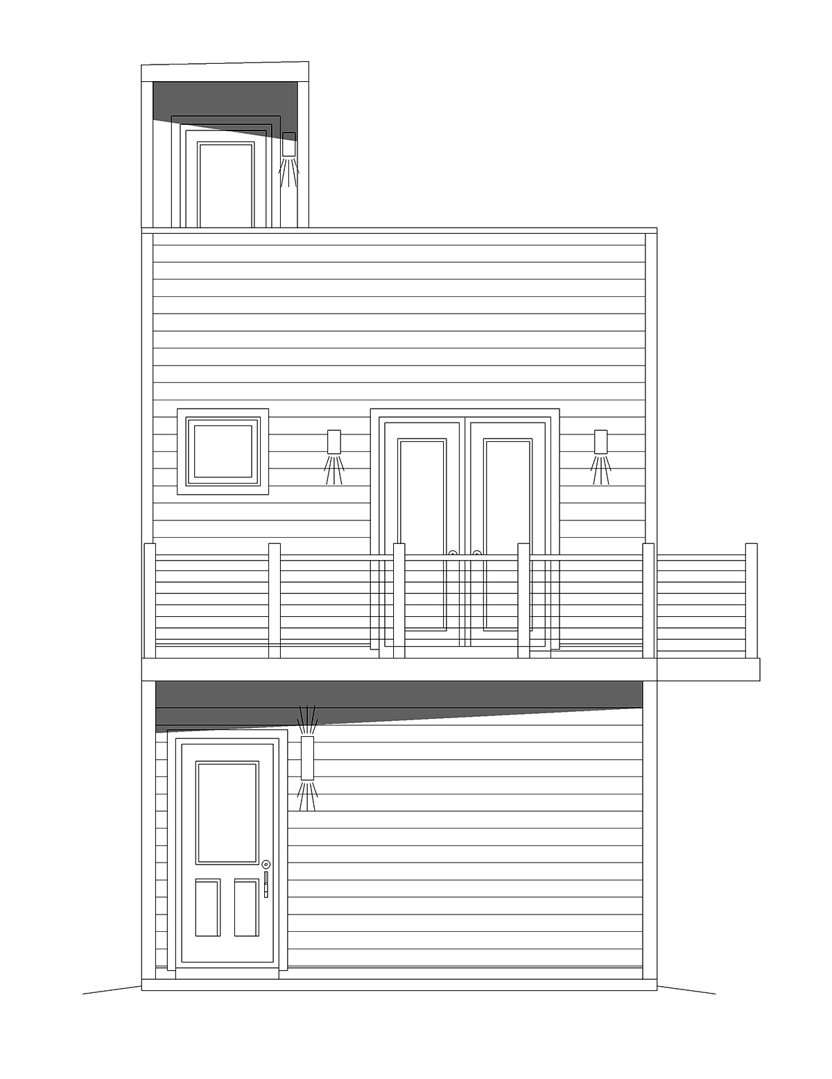 Contemporary, Modern, Narrow Lot House Plan 40839 with 2 Beds, 1 Baths, 2 Car Garage Rear Elevation