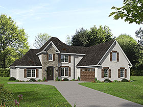 European , French Country House Plan 40840 with 5 Beds, 3 Baths, 2 Car Garage Elevation