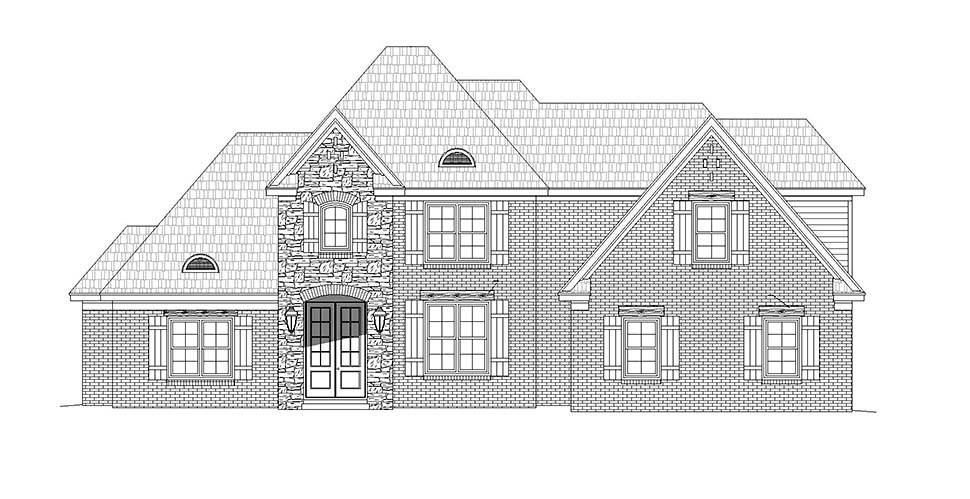 European, French Country House Plan 40840 with 5 Beds, 3 Baths, 2 Car Garage Picture 3