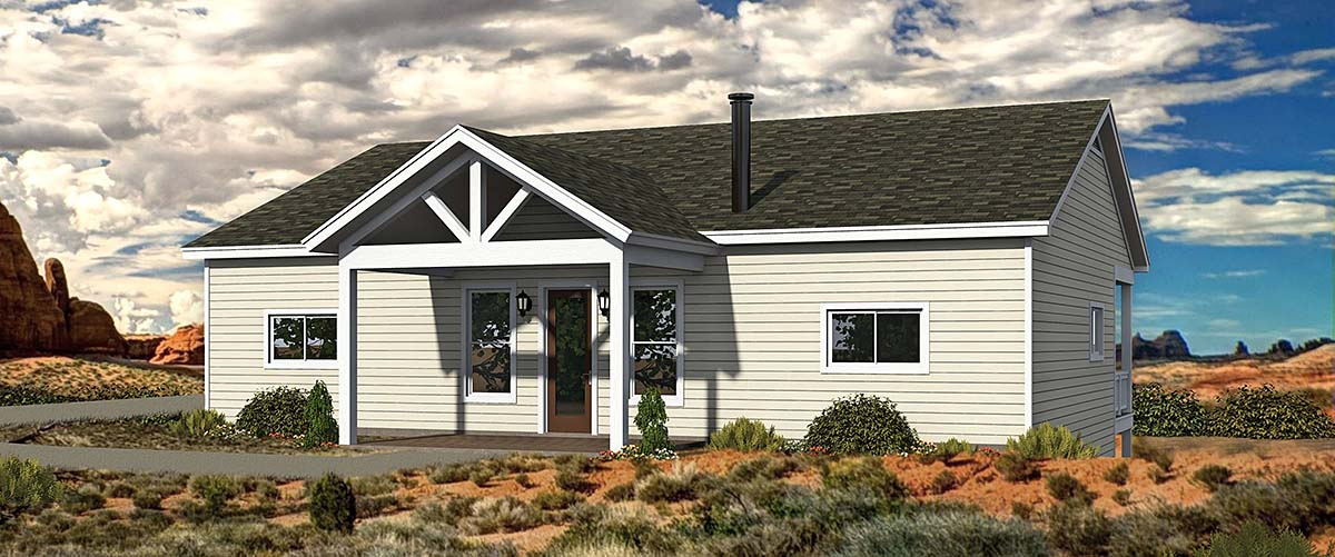 Bungalow, Cabin, Cottage House Plan 40848 with 2 Beds , 2 Baths Elevation