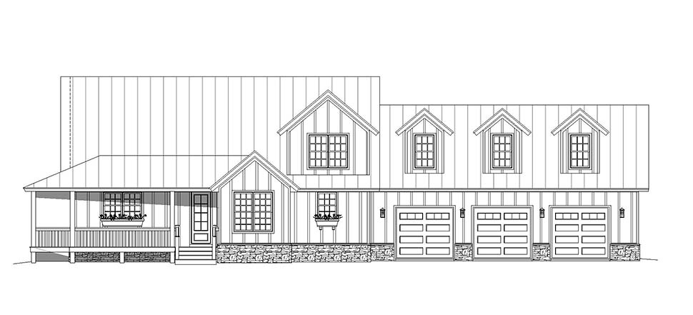 Country, Craftsman, Farmhouse House Plan 40850 with 3 Beds, 3 Baths, 3 Car Garage Picture 3