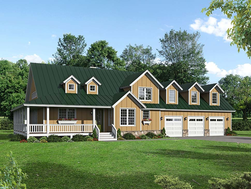 Country, Craftsman, Farmhouse House Plan 40850 with 3 Beds, 3 Baths, 3 Car Garage Picture 4
