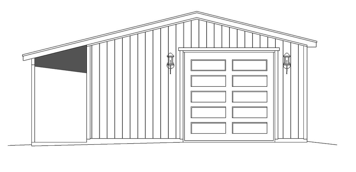 Country, Ranch 2 Car Garage Plan 40851 Rear Elevation
