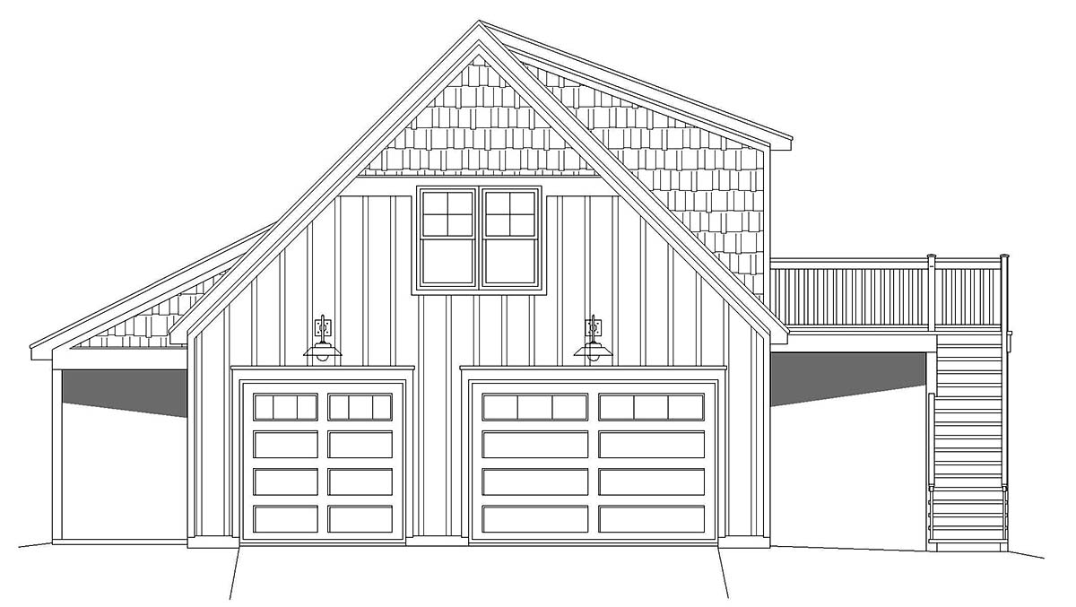 Country, Ranch House Plan 40852 with 1 Beds, 1 Baths, 2 Car Garage Picture 2