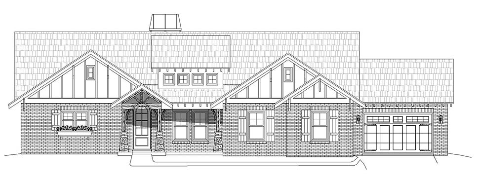 Craftsman, Ranch, Traditional House Plan 40854 with 3 Beds, 3 Baths, 3 Car Garage Picture 3