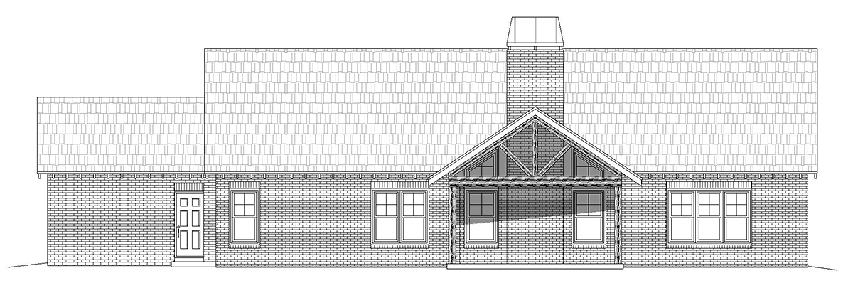 Craftsman, Ranch, Traditional House Plan 40854 with 3 Beds, 3 Baths, 3 Car Garage Rear Elevation