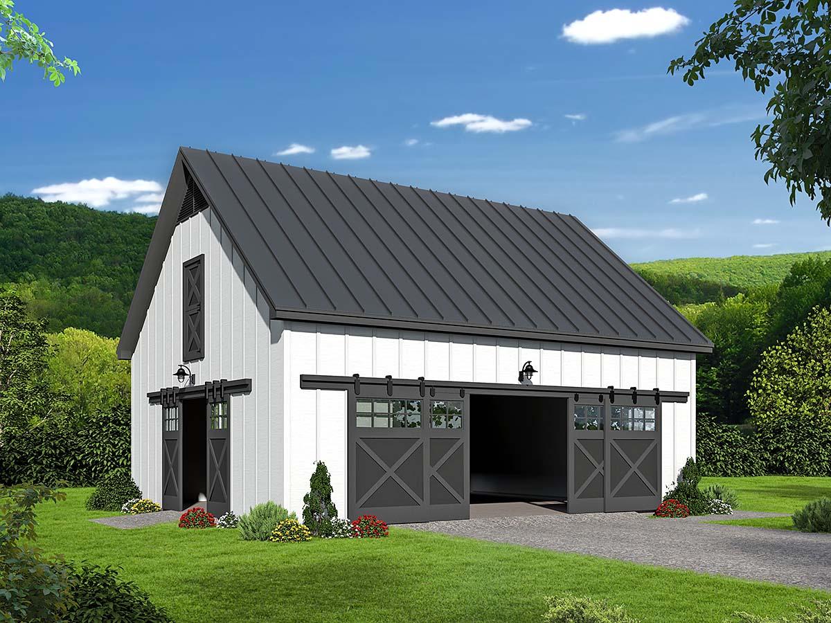 Country, Farmhouse 2 Car Garage Plan 40855 Elevation