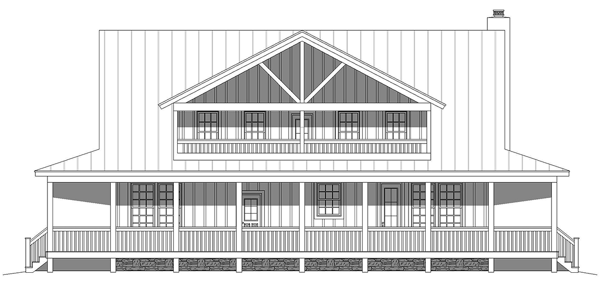 Country, Farmhouse, Traditional House Plan 40857 with 3 Beds, 4 Baths Rear Elevation