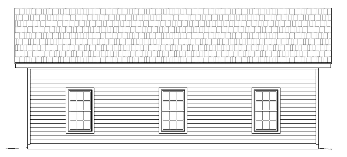 Country, Ranch, Traditional 3 Car Garage Plan 40858 Rear Elevation