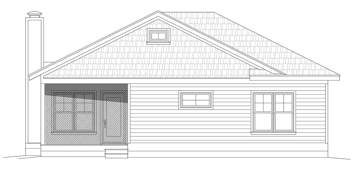 Country, Farmhouse, Ranch, Traditional House Plan 40859 with 3 Beds, 2 Baths Rear Elevation