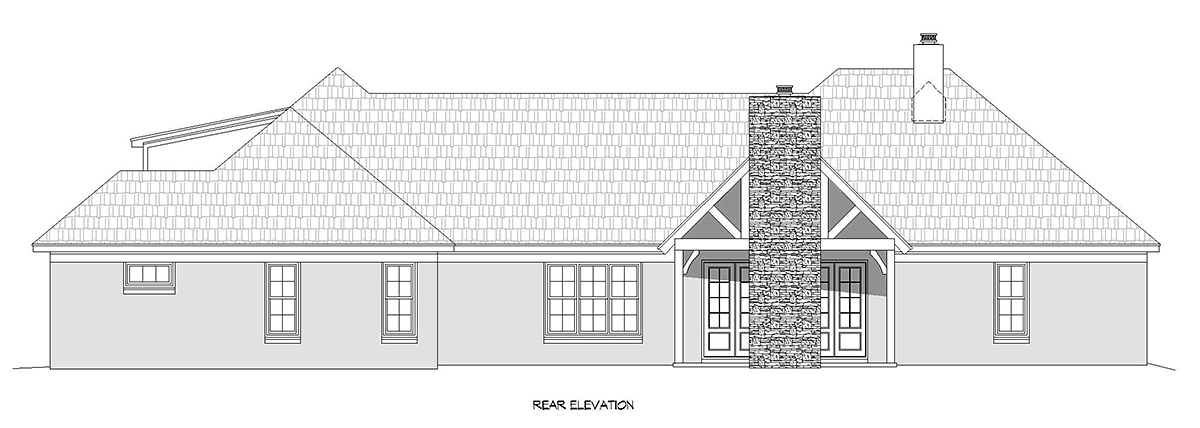 European, French Country, Ranch House Plan 40860 with 3 Beds, 4 Baths, 3 Car Garage Rear Elevation