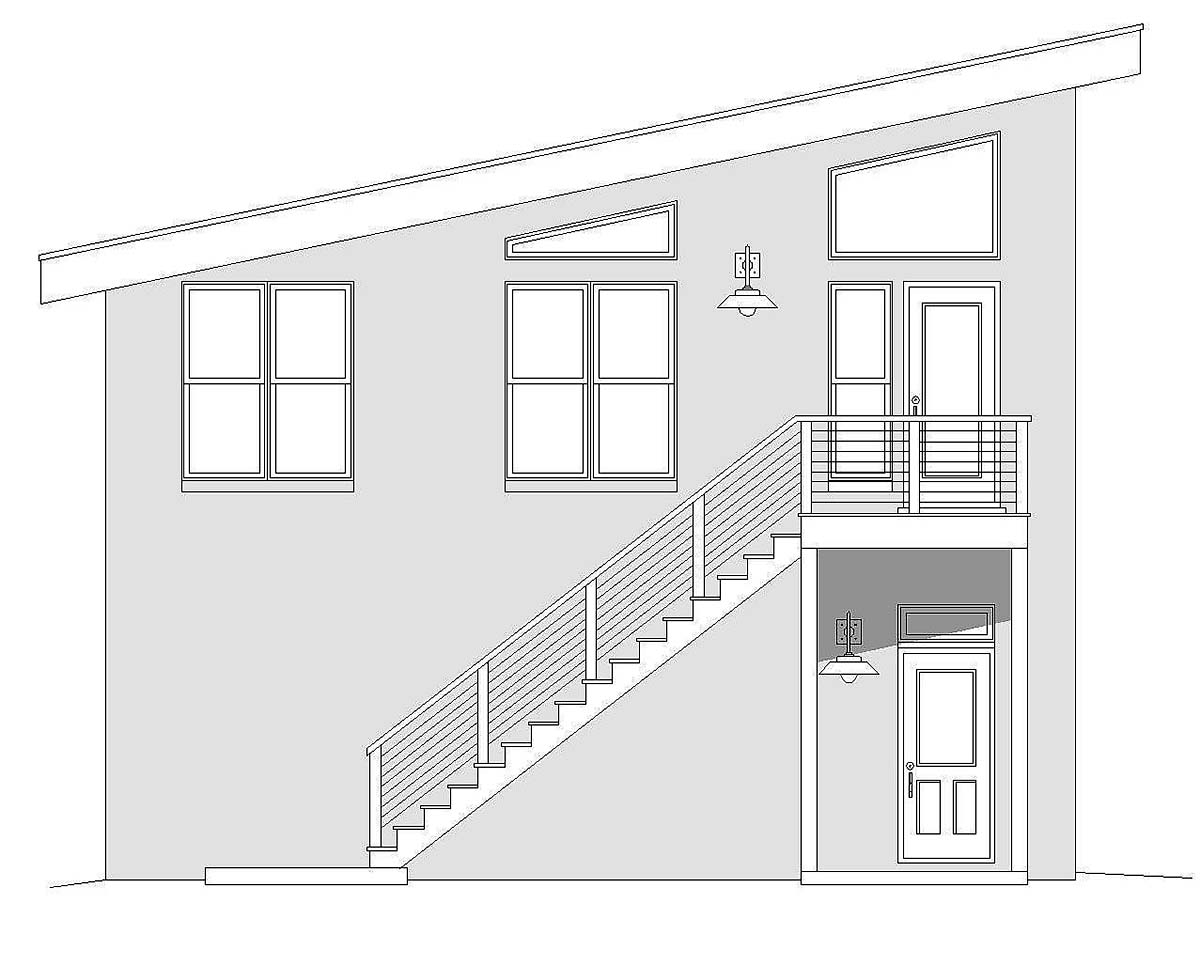 Contemporary, Modern 2 Car Garage Apartment Plan 40865 Picture 2