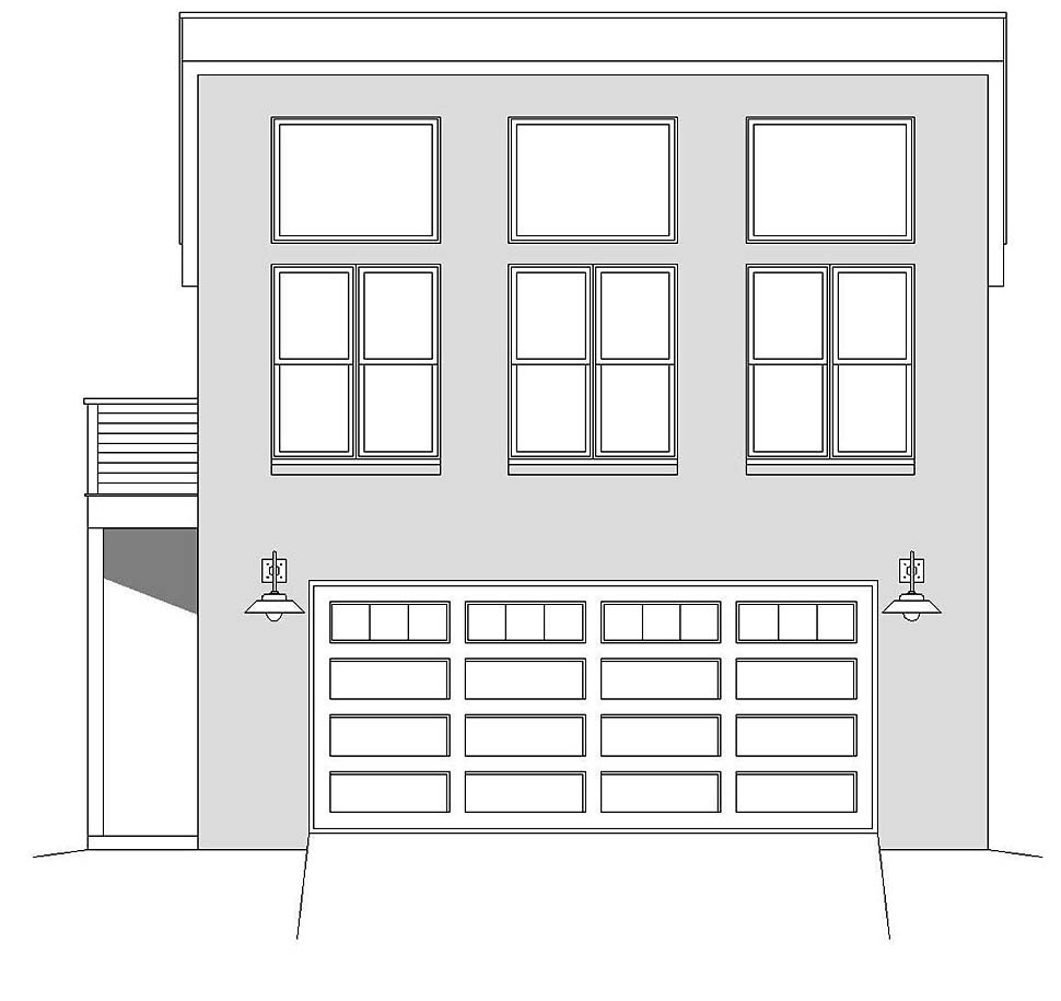 Contemporary, Modern 2 Car Garage Apartment Plan 40865 Picture 3