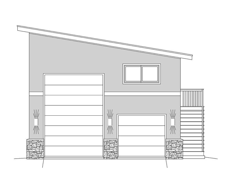 Contemporary, Modern 2 Car Garage Plan 40870, RV Storage Picture 3