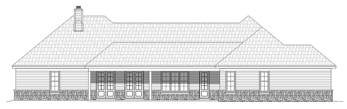 European, French Country, Ranch House Plan 40871 with 3 Beds, 3 Baths, 3 Car Garage Rear Elevation