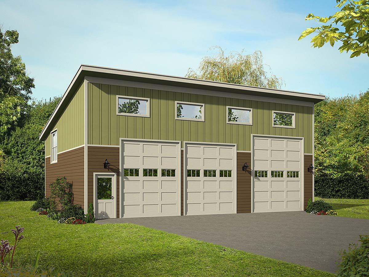 Contemporary, Modern 3 Car Garage Plan 40881, RV Storage Elevation