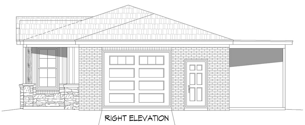 Country, Ranch, Traditional House Plan 40887 with 1 Beds, 2 Baths, 1 Car Garage Picture 1