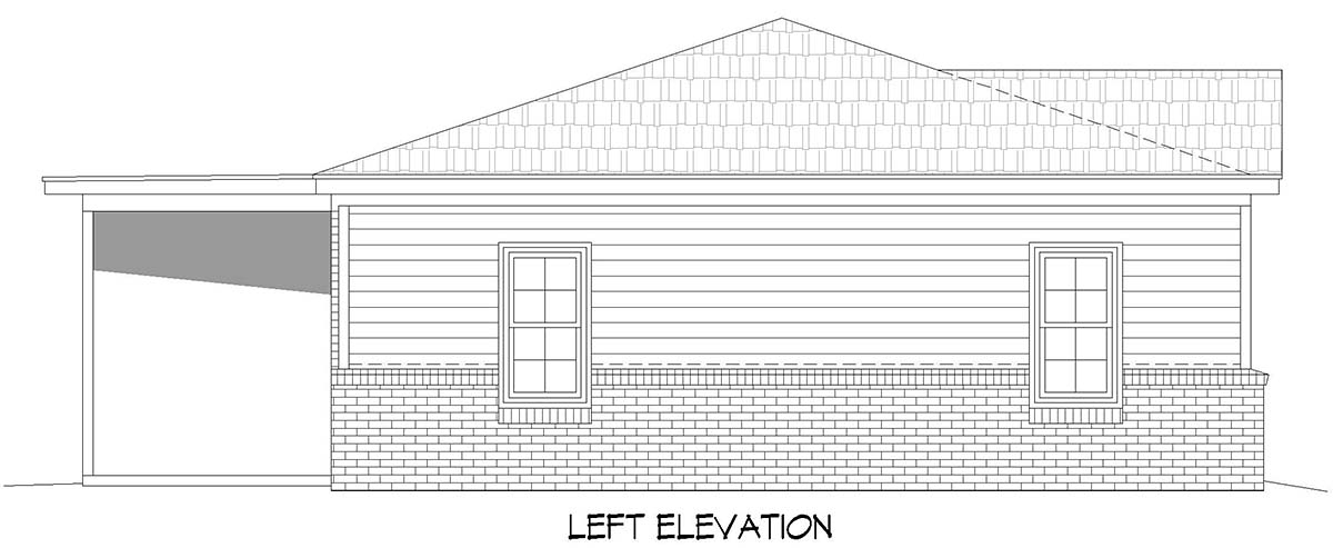 Country, Ranch, Traditional House Plan 40887 with 1 Beds, 2 Baths, 1 Car Garage Picture 2