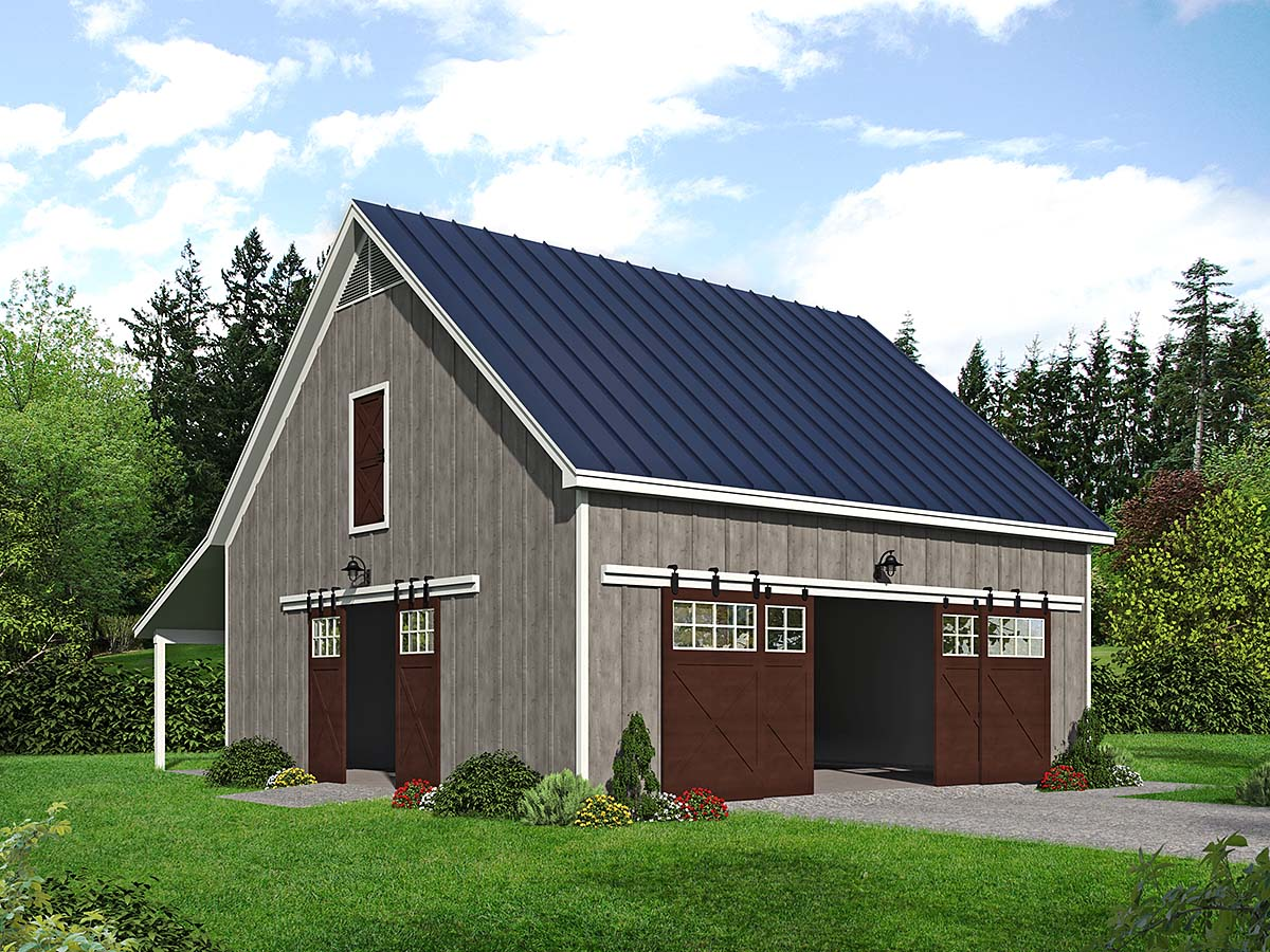 Country, Farmhouse, Traditional 2 Car Garage Plan 40888 Elevation