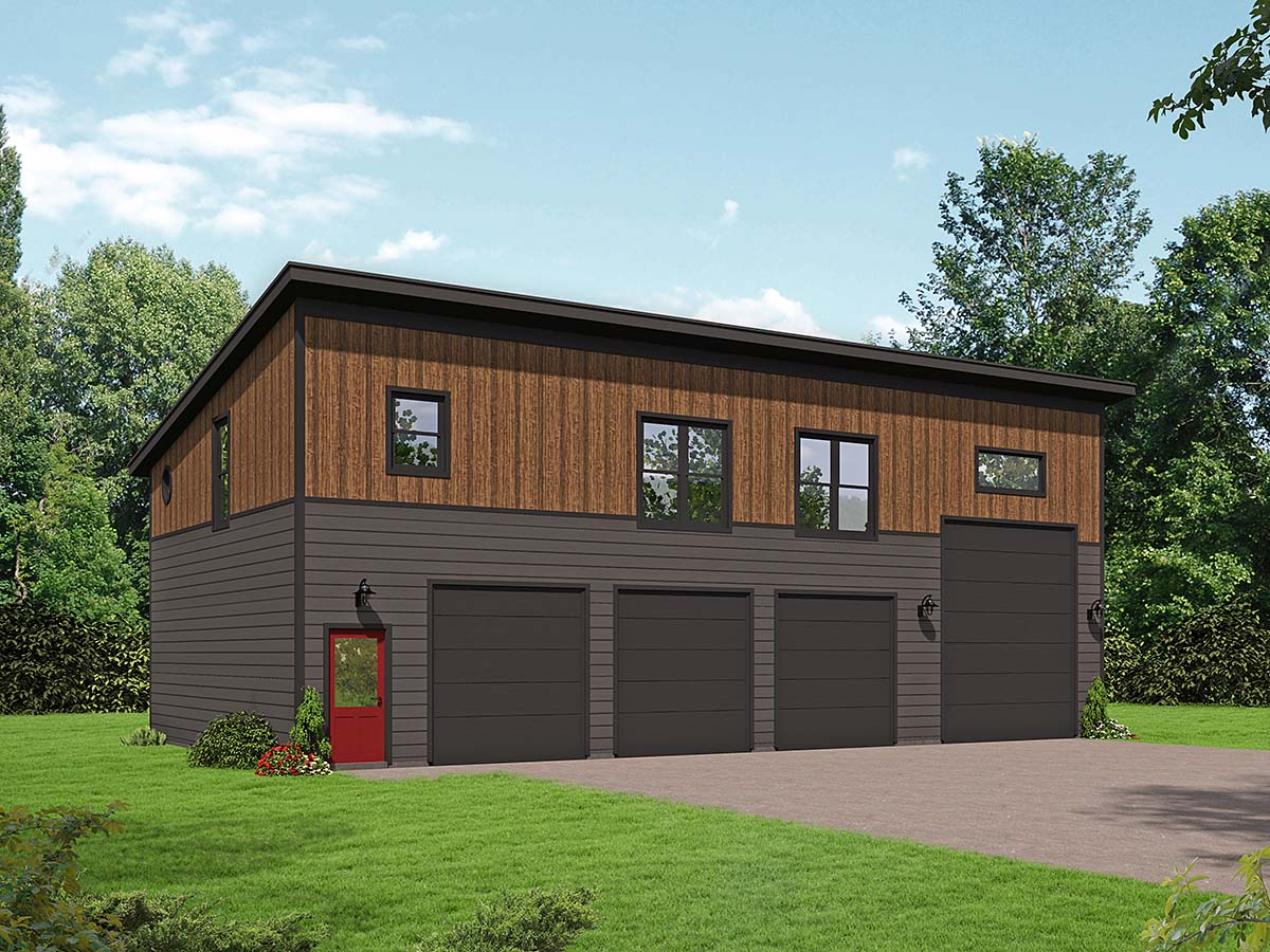 Contemporary, Modern Multi-Family Plan 40889 with 2 Beds, 1 Baths, 4 Car Garage Elevation