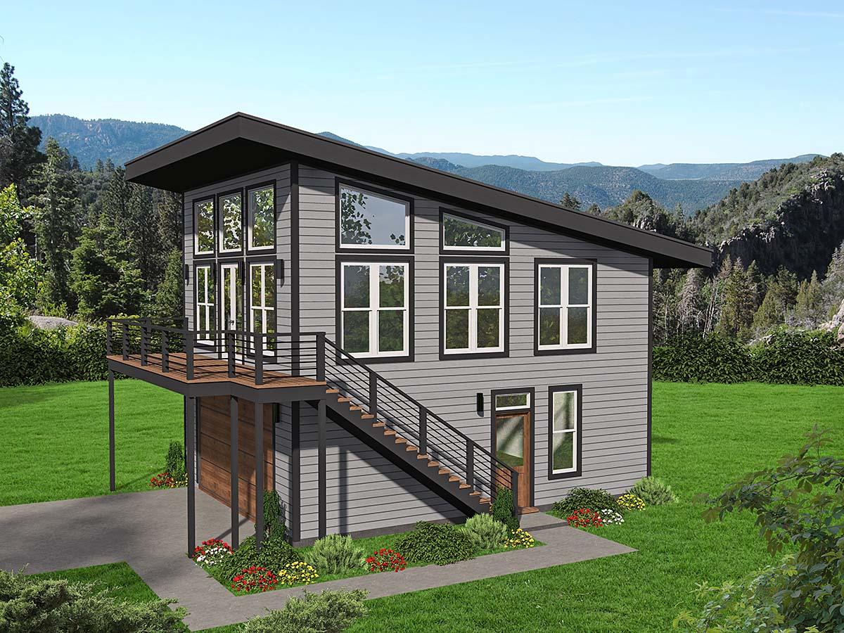 Coastal, Contemporary, Modern Garage-Living Plan 40896 with 2 Beds, 2 Baths, 2 Car Garage Elevation