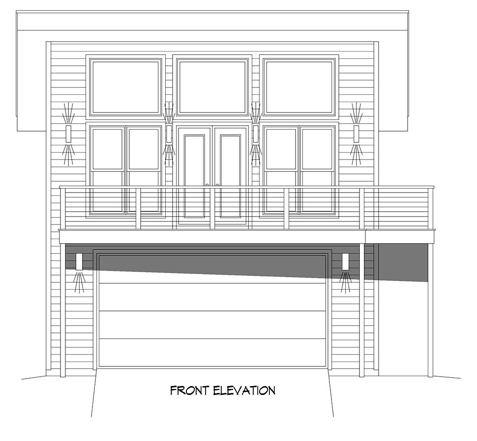 Coastal, Contemporary, Modern Garage-Living Plan 40896 with 2 Beds, 2 Baths, 2 Car Garage Picture 3