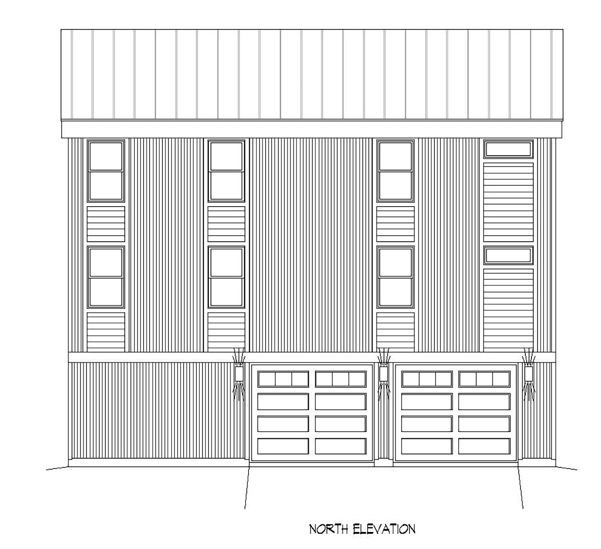 Contemporary, Modern Garage-Living Plan 40898 with 2 Beds, 3 Baths, 2 Car Garage Rear Elevation