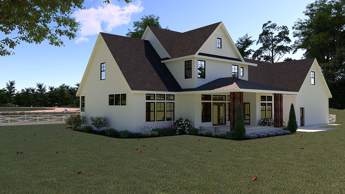 Contemporary Farmhouse Rear Elevation of Plan 40902