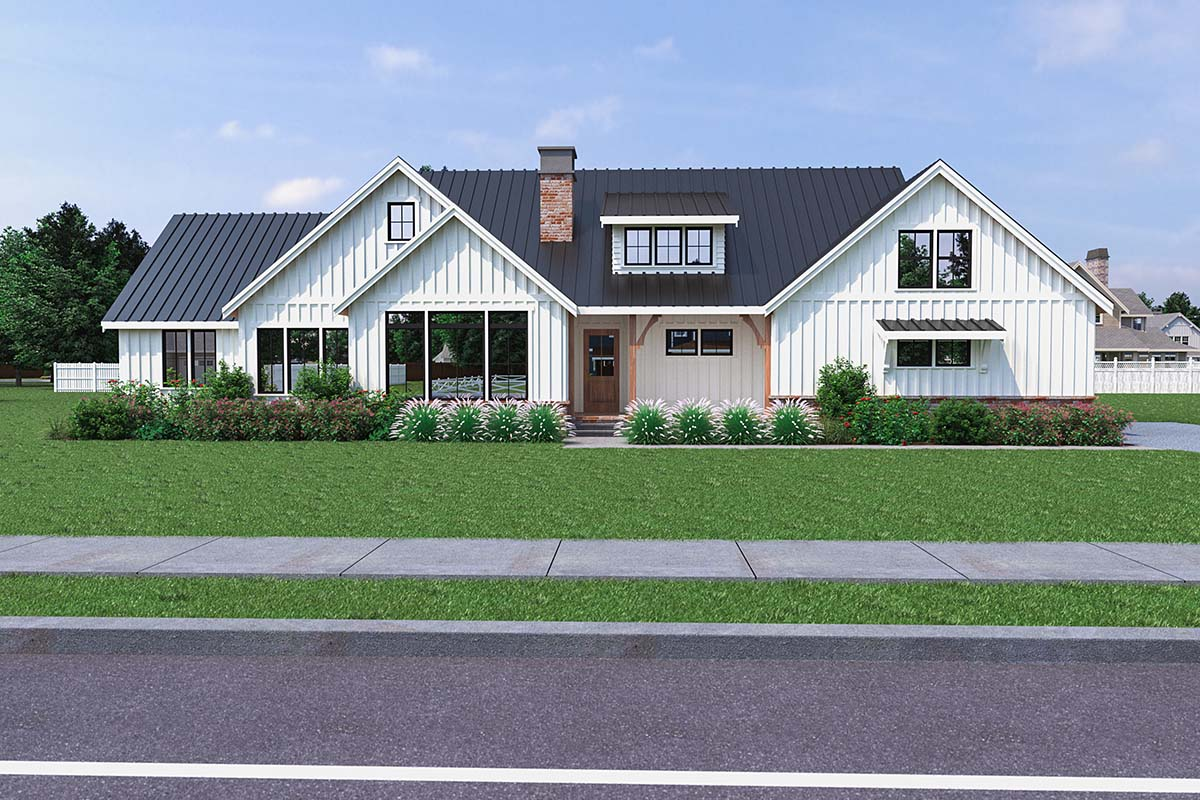 Contemporary, Modern Farmhouse House Plan 40906 with 3 Beds, 3 Baths, 2 Car Garage Elevation