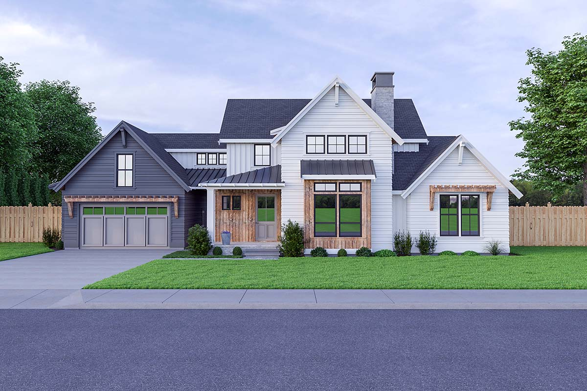 Contemporary Farmhouse Elevation of Plan 40907