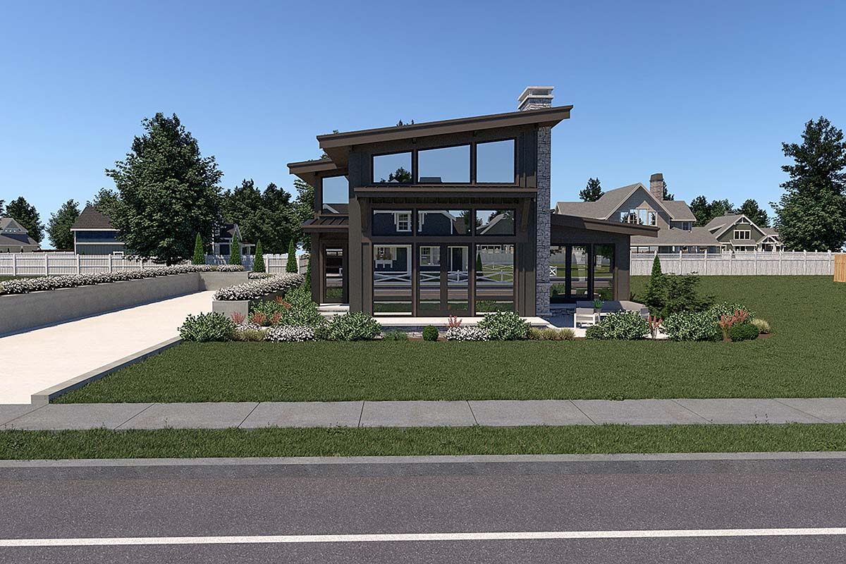 Contemporary House Plan 40910 with 3 Beds, 3 Baths, 2 Car Garage Front Elevation