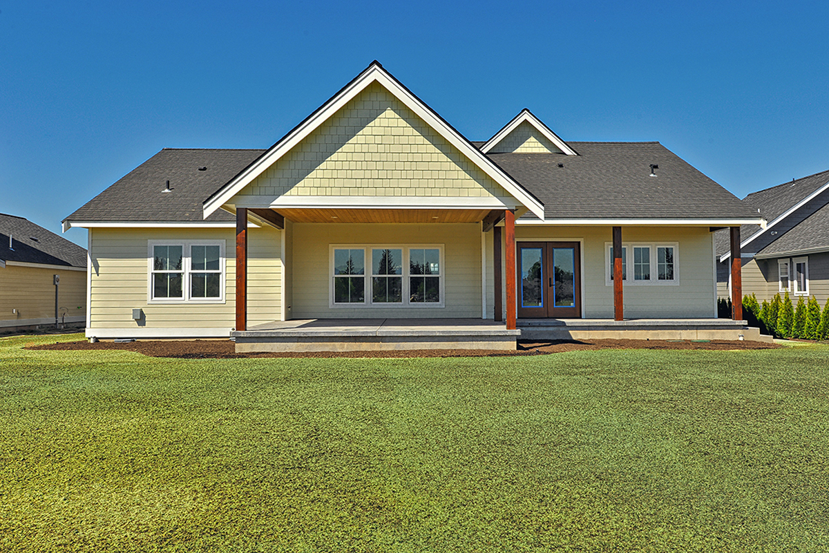 Country, Craftsman, Ranch, Traditional House Plan 40918 with 3 Beds, 2 Baths, 2 Car Garage Rear Elevation