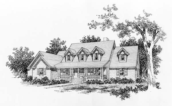 Cape Cod Country Southern Elevation of Plan 41004