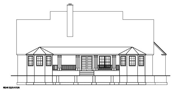 Cape Cod Country Southern Rear Elevation of Plan 41004