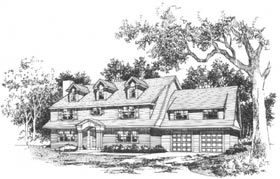 Cape Cod Colonial Contemporary Traditional Elevation of Plan 41005
