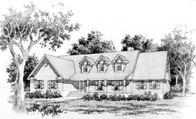 House Plan 41006 | Cape Cod Country Ranch Style Plan with 3143 Sq Ft, 3 Bedrooms, 3 Bathrooms, 2 Car Garage Elevation
