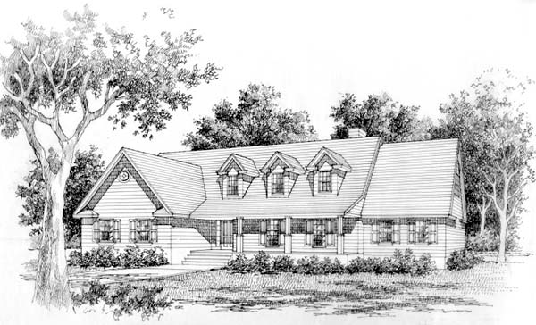 Cape Cod Country Ranch Elevation of Plan 41006