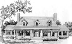 Cape Cod , Country House Plan 41009 with 3 Beds, 3 Baths Elevation
