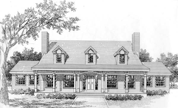 Cape Cod Colonial Country Southern House Plan 41011 Elevation