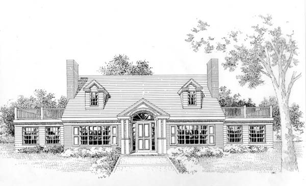 Cape Cod , Colonial House Plan 41012 with 3 Beds, 3 Baths Elevation