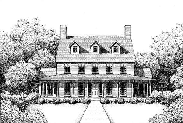 Colonial Southern House Plan 41020 Elevation