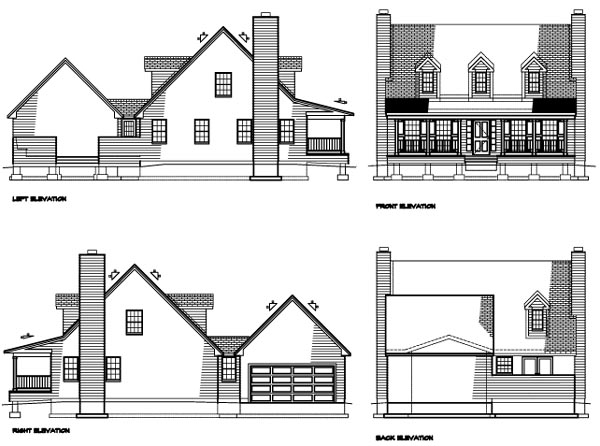 Country House Plan 41022 with 3 Beds, 3 Baths Rear Elevation