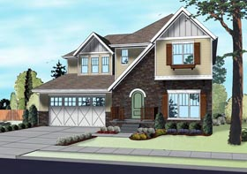 Traditional House Plan 41107 with 4 Beds, 3 Baths, 2 Car Garage Elevation